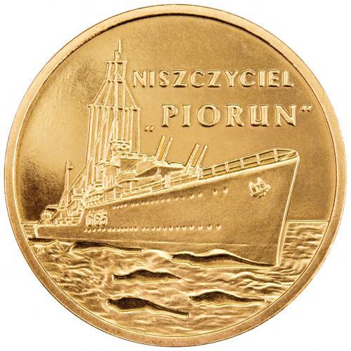 fot. moneta 2-złotowa z ORP Piorun/Marynarka Wojenna