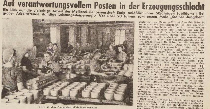 Fot. Bałtycka Bibliotreka Cyfrowa: Artykuł o słupskim serze w Grenz Zeitung z 1943 r.