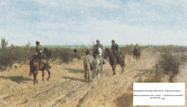 """Maksymilian Gerymski (1846 - 1874)  Pikieta powstańcza / Obraz przedstawia sceną """"wyjętą"""" z codzienności Powstania styczniowego."""