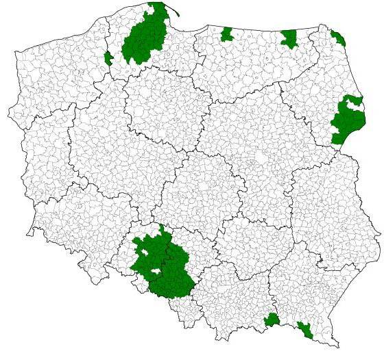 Fot. GUS: Gminy, w których łączny udział osób deklarujących w pierwszym lub drugim pytaniu inną niż polska przynależność narodowo-etniczną wynosił co najmniej 10%.