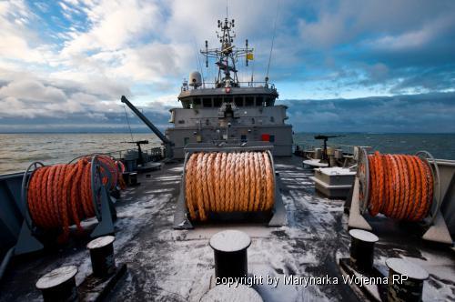 """fot. ORP """"Kontradmirał X. Czernicki podczas ćwiczeń na morzu"""" - foto st. chor. Adam Roik"""