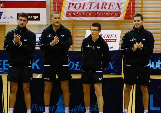 Kadra Poltarex Pogoń Lębork I liga. Od lewej: Jakub Perek, Marek Prądziński, Adam Dosz, Bartosz Szarmach . / fot. www.pogonlebork-ts.pl/