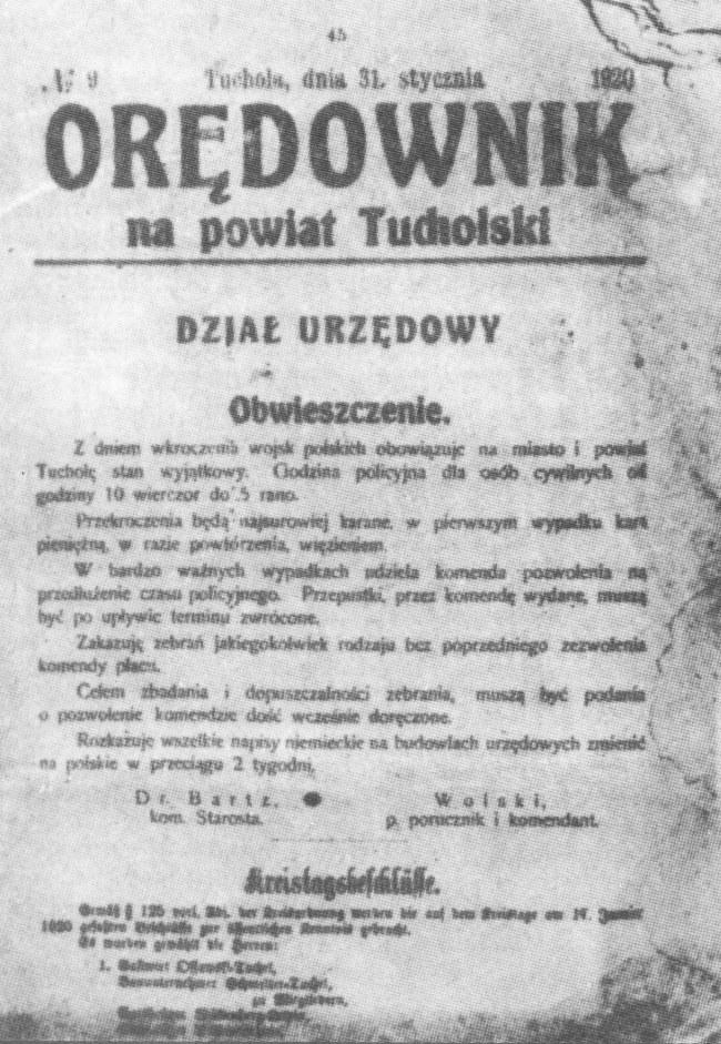 3Orędownik na Powiat Tucholski z 31 stycznia 1920 r.   ( z archiwum Naji Gochë)