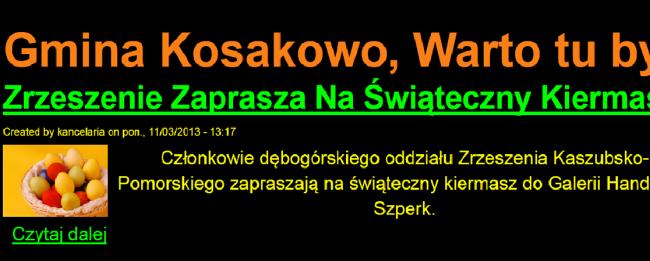 fot. kadr ze strony dla niedowidzących UG w Kosakowie