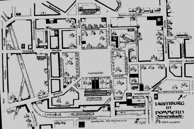 Mapa zniszczeć w centrum Lęborka po wkroczeniu Armii Czerwonej.