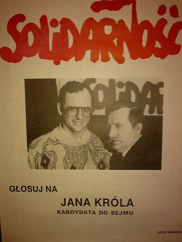 Plakat wyborczy Jana Króla z 1989 r.