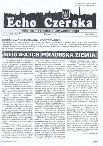 """O Polakach pogrzebanych w czerskiej ziemi pisał 23.7.1939 ks. Franciszek Smagliński w artykule """"Utuliła ich Pomorska Ziemia"""" w 30 numerze """"Przewodnika Katolickiego""""."""