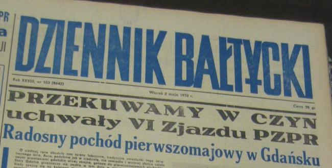 """""""Dziennik Bałtycki"""" - lokalne medium krytykowane przez strajkujących za tendencyjność materiałów nt. wydarzeń w Stoczni."""
