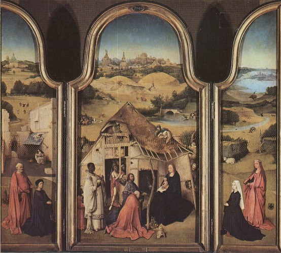 """Hieronim Bosch """"Pokłon Trzech Króli"""", (1495-1500)tryptyk o wym. 138x138 - namalowany farbami olejnymi na desce. Obraz znajduje się w Muzeum Prado w Madrycie."""