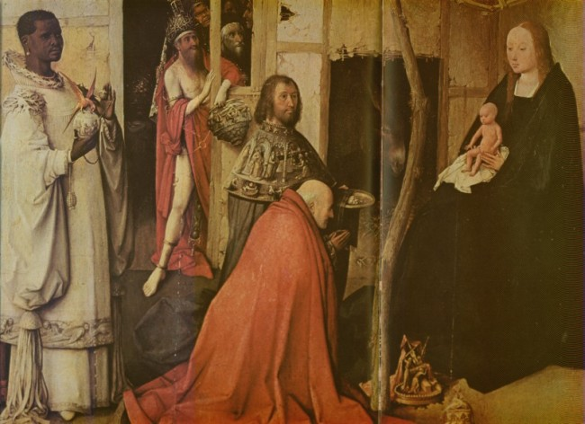 Centralna część tryptyku o wym. 138 x 72 cm – przedstawia Pokłon Trzech Króli -