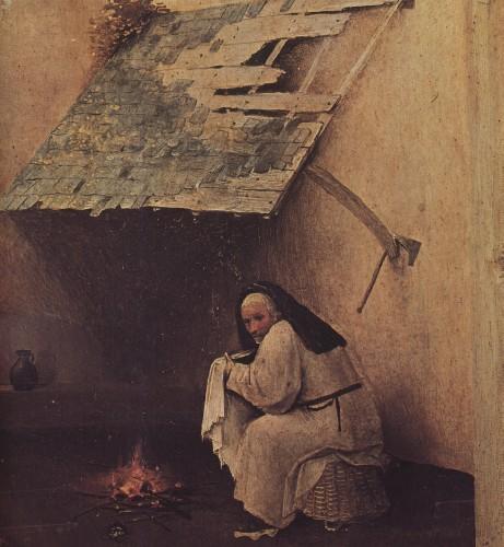 Święty Józef przybrany w łachmany - suszy pieluchy nad daszkiem byle jak zaczepionym do ruin pogańskiej budowli