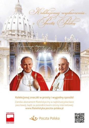 Znaczek emitowany przez Pocztę Polską wspólnie z Pocztą Watykańską.