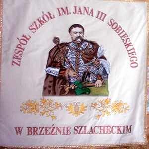 Sztandar Zespołu Szkół w Brzeźnie Szlacheckim.