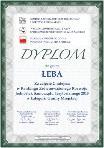 Dyplom dla Łeby.